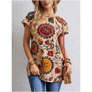 boho floral print cream short sleeve tunic top